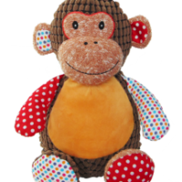 Personalised harlequin monkey by Lovingly Labelled