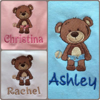 personalised bib rattle design