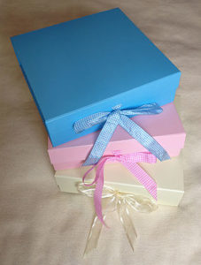 Pink, blue and cream keepsake boxes for the gift set