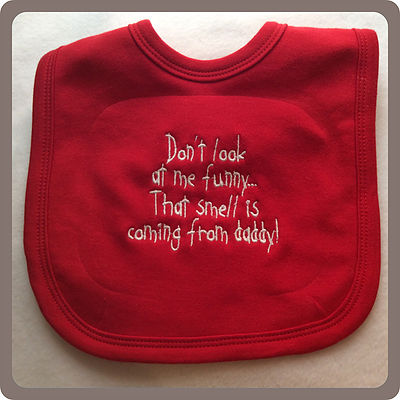 Funny Embroidered Personalised Bib Baby Shower Don/'t look at me thats my grandad