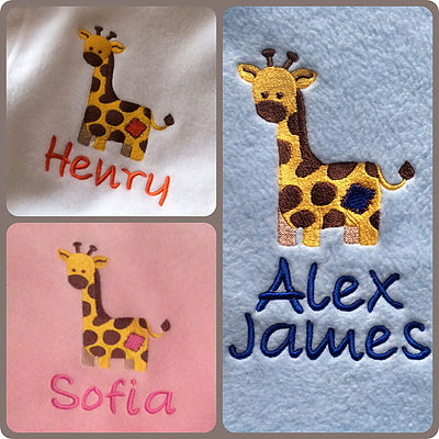 Patch giraffe blanket personalised embroidered gifts perfect for personalised baby blanket giraffe design negle Choice Image