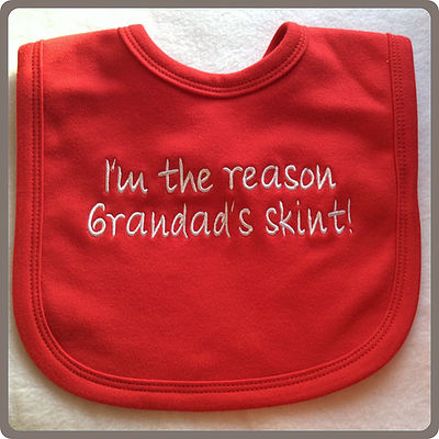 funny skint grandad bib