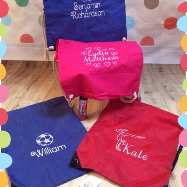 personalised drawstring or swim bag