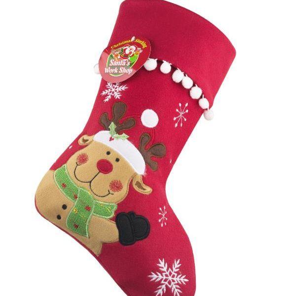 Making Christmas Stocking.Christmas Stocking Personalised Red Reindeer
