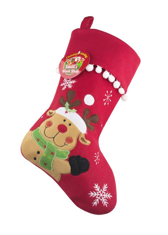 Red Christmas Stocking.Christmas Stocking Personalised Red Reindeer