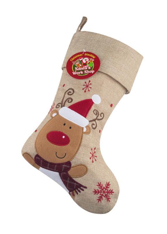 Grey Christmas Stockings Personalised.Christmas Stocking Personalised Hessian Reindeer